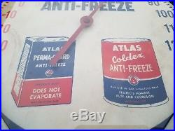 Vintage Atlas Esso Gas Oil Battery Tire Metal Thermometer Sign 12x12 Antifreeze