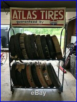 Vintage Atlas Gas Station Dealer Tire Display Stand Rack Atlas Advertising Sign
