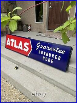 Vintage Atlas Tires/Batteries Porcelain Sign Advertising Atlas