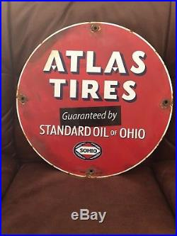 Vintage Atlas Tires Standard Oil Porcelain Gas Service Station Pump Sign