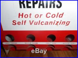 Vintage BOWES Gas Service Station FEATHER EDGE TIRE REPAIR DISPLAY RACK SIGN