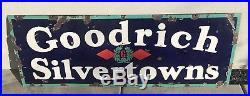 Vintage Bf Goodrich Silvertowns Porcelain Sign Tires Gas Oil Gasoline Pump Plate