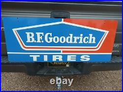 Vintage Bf Goodrich Tires /gas Station Advertising Sign Heavy 2-sided 48×19 3/4