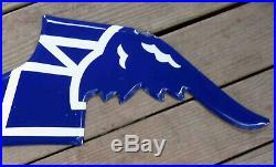 Vintage Blue & White GOODYEAR Tires FLYING SHOE PORCELAIN SIGN Section ONLY
