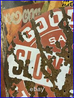 Vintage C. 1930 Goodrich Tires Slow Down Safety First Porcelain Sign Patina Rare