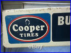 Vintage COOPER TIRES Store Display Sign double signs Auto Gas Oil advertising