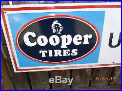 Vintage Cooper Tires Dealer Tin Sign Embossed 70'' x 15 Cooper Tires