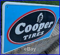 Vintage Cooper Tires Gas Station Oil Dealer Advertising Embossed Metal Sign