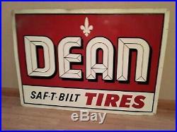 Vintage DEAN SAF-T- BILT TIRES Metal Advertising Sign Red White Black 42 x 30