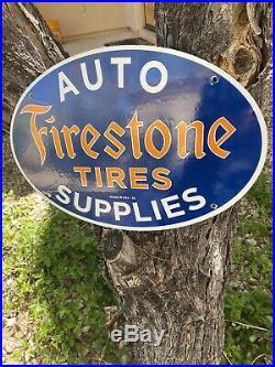 Vintage Dated 53''firestone Tires'' 16.5x11 Inch Porcelain Dealer Sign