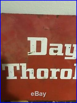 Vintage Dayton Thorobreds Tires Tire Gas Station Oil 22.5 Metal Sign
