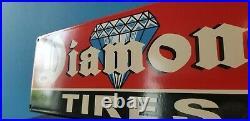 Vintage Diamond Tires Porcelain Gas Automobile Car Service Station Garage Sign