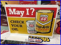 Vintage Double Sided Phillips 66 Gas Pump Topper Sign May I Check Your Oil Tires