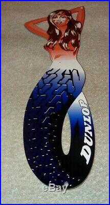 Vintage Dunlop Tires Brunette Mermaid Woman 15 Metal Tire, Gasoline & Oil Sign