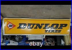 Vintage Dunlop Tires sign 12 ft x 3 ft Embossed Dealer Sign
