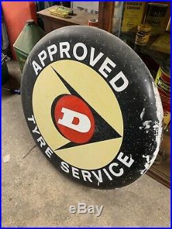 Vintage Dunlop Tyre Advertising Sign Petrol Oil Automobilia Alloy Enamel Old
