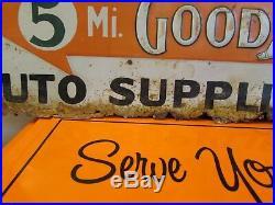 Vintage Early Goodyear Tire Sign Waynesboro PA CW Sexton Embossed5 Miles Arrow