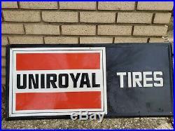 Vintage Embossed Tin Metal Uniroyal Tires Sign 40 x 18