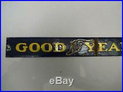 Vintage Enamel Porcelain Sign Good Year Tire Advertising Cupboard Strip Display