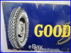 Vintage Enamel Porcelain Sign Goodyear Balloon Tire Rare Automobile Collectibles