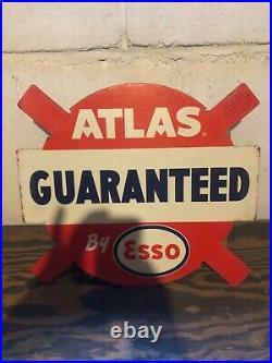Vintage Esso/ Atlas 50s Era Tire Insert Display Sign Rare Version