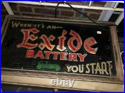 Vintage Exide Tire Battery Light up Art Deco Glass & Metal Gas Station Sign