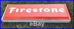 Vintage FIRESTONE Dealer Lighted Tire Sign 72x24 Gas Station PICK UP ONLY