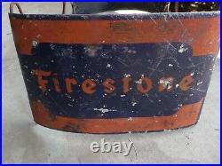 Vintage FIRESTONE GAS STATION OIL ADVERTISING TIRE HOLDER RACK DISPLAY SIGN RARE