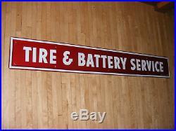 Vintage FIRESTONE TIRE & BATTERY SERVICE Sign Gas Station Garage Oil Advert