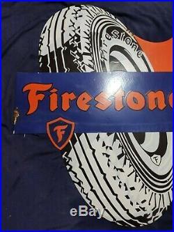 Vintage FIRESTONE TIRES Porcelain Enamel Sign Tire Die Cut Double Sided Flange