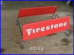 Vintage FIRESTONE Tire Holder Display Stand Gas Oil Service Station Sign