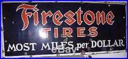 Vintage FIRESTONE Tire Sign Porcelain'20s Cobalt Blue & Orange w White Xlnt