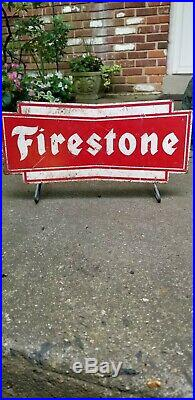Vintage FIRESTONE sign. 1960's Tire Holder Display Stand Gas, Oil