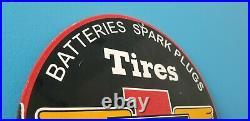 Vintage Firestone Auto Car Tires Supplies Porcelain Metal Gasoline Oil Sign