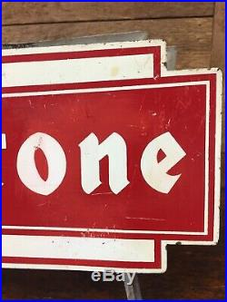 Vintage Firestone Bowtie Tire Holder Display Stand Gas Oil Service Station Sign