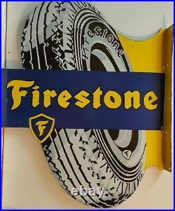 Vintage Firestone Double Sided Flange Porcelain Enamel Sign