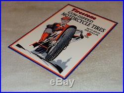 Vintage Firestone Gum Dipped Motorcycle Tires 12 Metal Tire Gasoline & Oil Sign