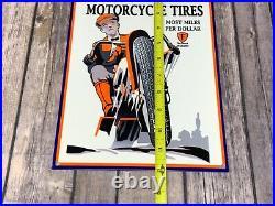 Vintage Firestone Gum-dipped Motorcycle Tires 12 X 8 Metal Gas Oil Garage Sign