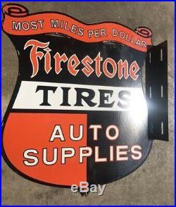 Vintage Firestone Porcelain Double Sided Flange Sign Advertising Service Station