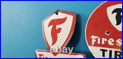 Vintage Firestone Porcelain Gas Automobile Tires Topper & 5 Service Dealer Sign