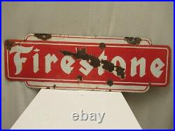 Vintage Firestone Sign Board Porcelain Enamel Double Sided Shop Display Collect