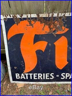 Vintage Firestone Sign Porcelain Auto Gas Oil Tires Batteries Service