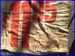 Vintage Firestone Tire Advertising Banner RARE 6.00-16 SIGN