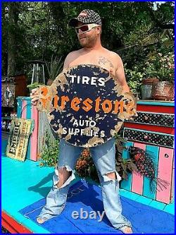 Vintage Firestone Tire Auto Supplies Gas Oil Service Station Porcelain Sign