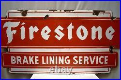 Vintage Firestone Tire & Brake Lining Service Sign Porcelain Enamel Double Side