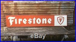 Vintage Firestone Tire Metal Sign Gas Station Oil Gasoline 13 1/2 X 71 Grace