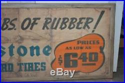 Vintage Firestone Tire Paper Advertising Banner Black Americana 37 x 120 RARE