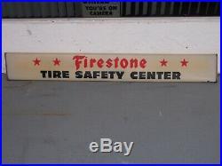 Vintage Firestone Tire Safety Center Sign Lighted Original
