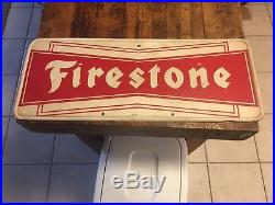 Vintage Firestone Tire Sign Oil & Gas Station Metal Adv Sign Large Bow Tie