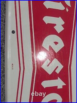 Vintage Firestone Tire Sign Oil & Gas Station Metal Adv Sign Large Bow Tie MCA
